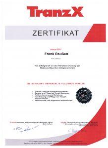 Zertifikat TranzX 2017