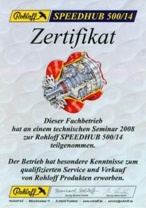 Zertifikat Rohloff Speedhub 500/14