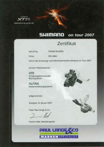 "Zertifikat ""Shimano on Tour 2007"""