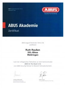 Zertifikat ABUS-Akademie ABUS On The Road! 2016
