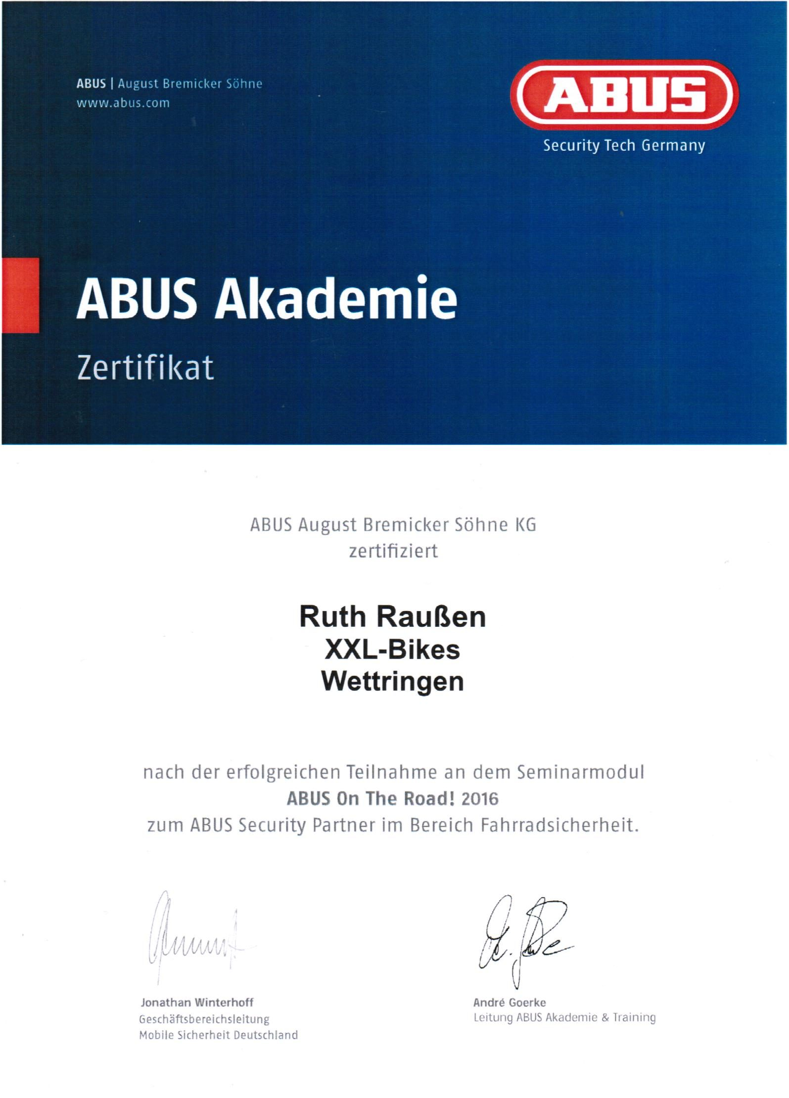 Zertifikat ABUS-Akademie ABUS On The Road! 2016