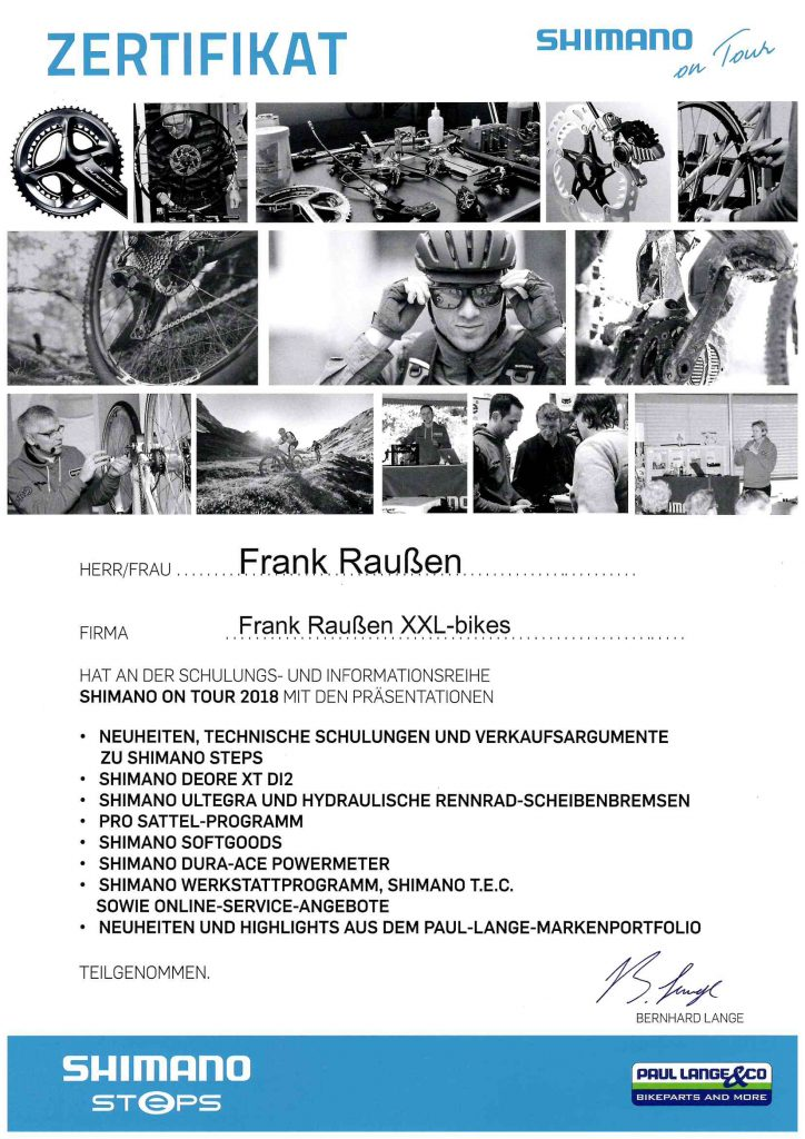 Zertifikat Shimano on Tour Frank Raußen