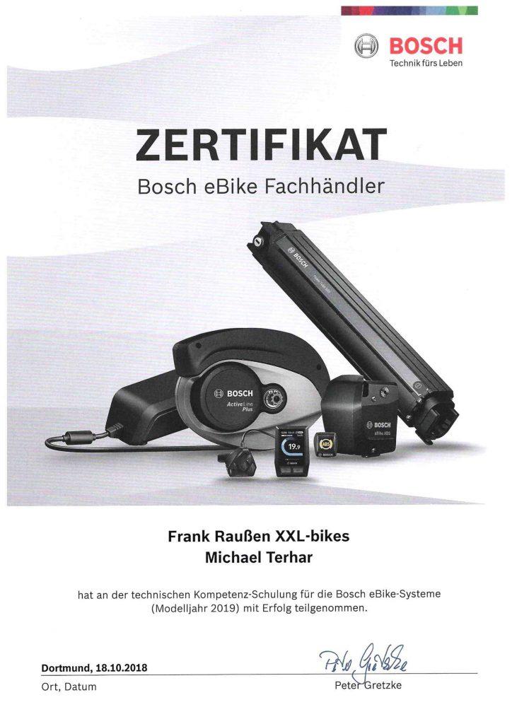 Zertifikat Bosch - Teilnehmer Michael Terhar