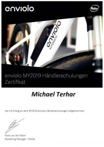 Zertifikat Enviolo MY2019 - Teilnehmer Michael Terhar
