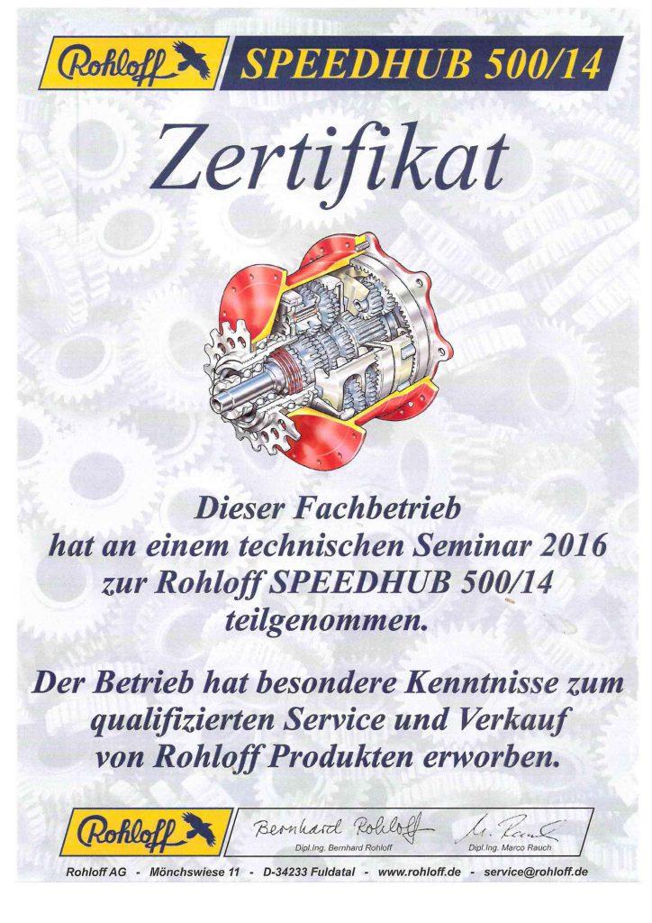 Zertifikat Rohloff XXL-bikes