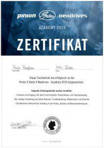 Pinion - Gates - Neodrives Academy 2019 - Zertifikat Frank Raußen