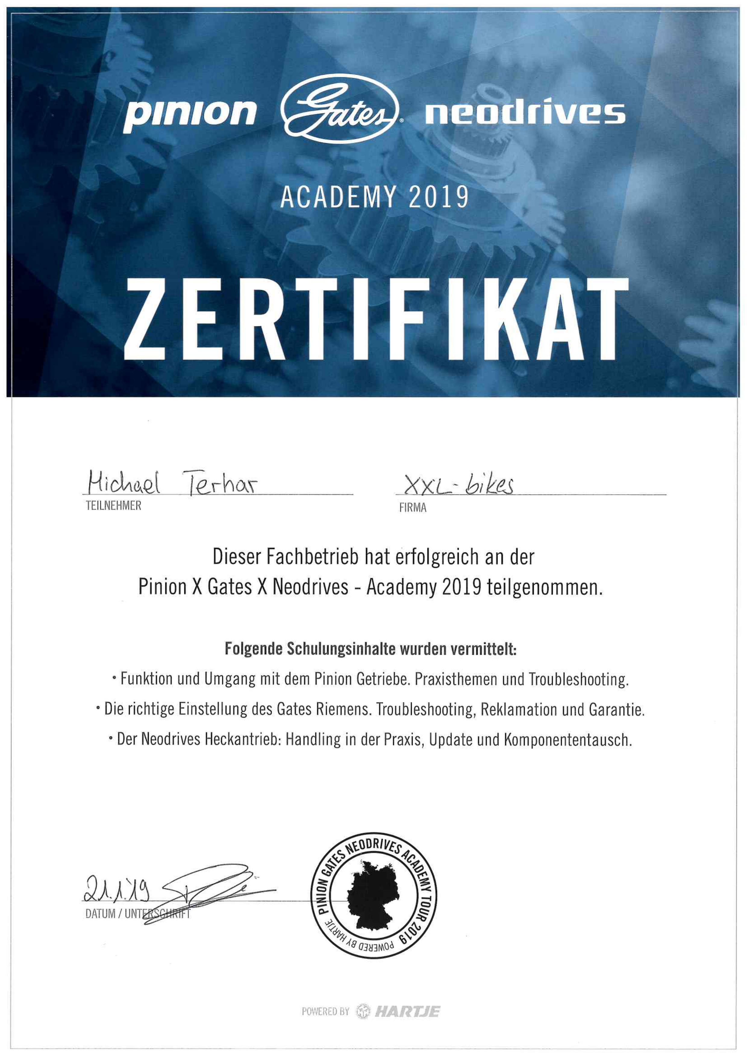 78e59ba8c7dee1 ... Pinion - Gates - Neodrives Academy 2019 - Zertifikat Michael Terhar