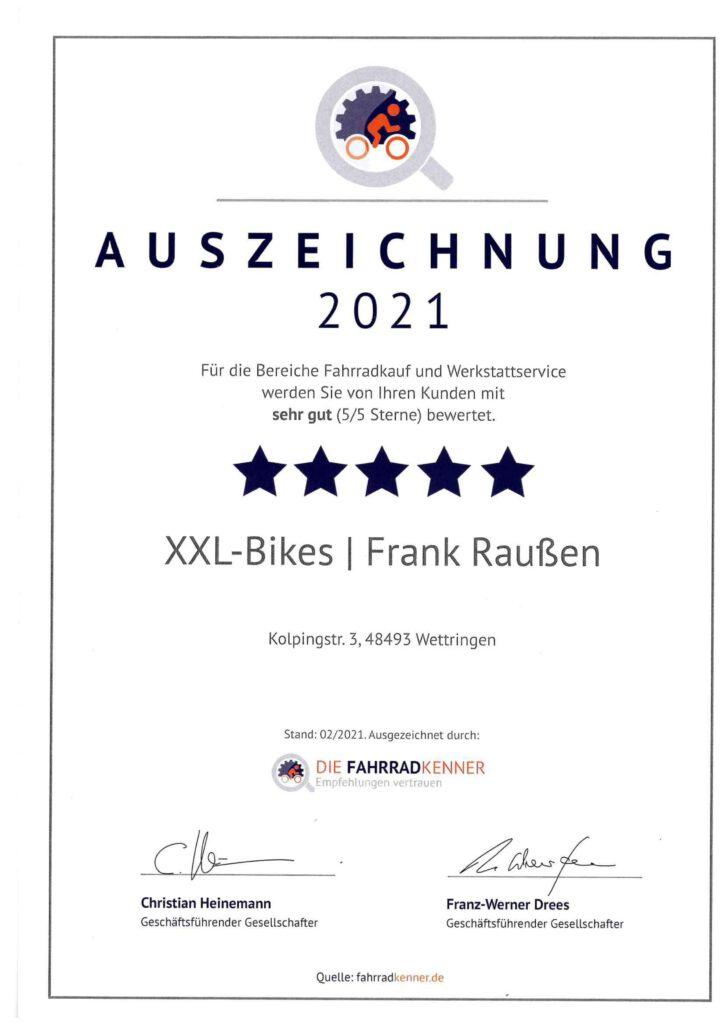 Die Fahrrad Kenner - Auszeichnung 2021